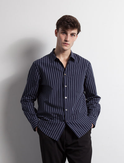 Kapatid - Gray and Navy Striped Dress Shirt - Made in the USA - Model