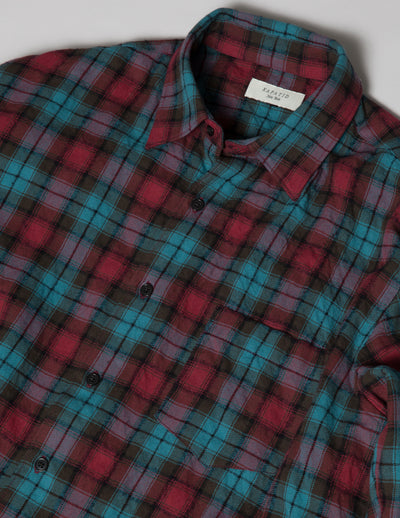 Kapatid - Men's Teal Plaid Flannel Shirt Made in the USA - Detail