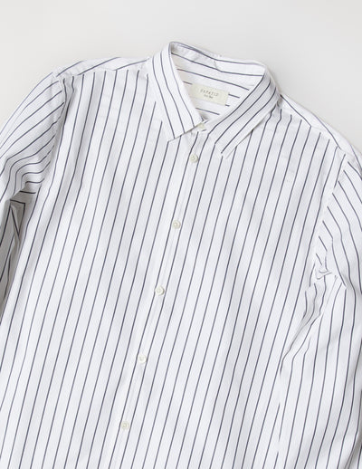 Kapatid - Gray and White Dress Striped Shirt - Made in the USA - Closeup