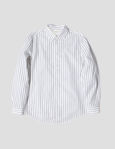 Kapatid - Gray and White Dress Striped Shirt - Made in the USA - Front