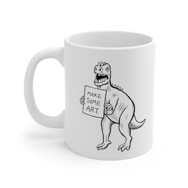 Make Some Art T-Rex Mug - simple white