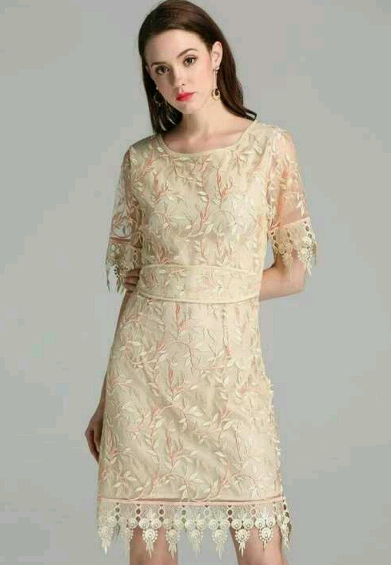 Short Sleeve Embroidery A-Word Dress