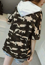 NBRAND Hooded Camouflage Short Sleeve Top - NBRANDFASHION.COM