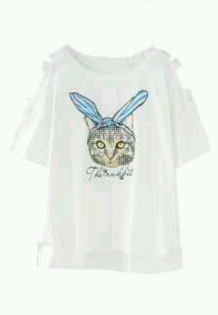 NBRAND Cartoon Cat Round-Neck Short Sleeve T-Shirt - NBRANDFASHION.COM