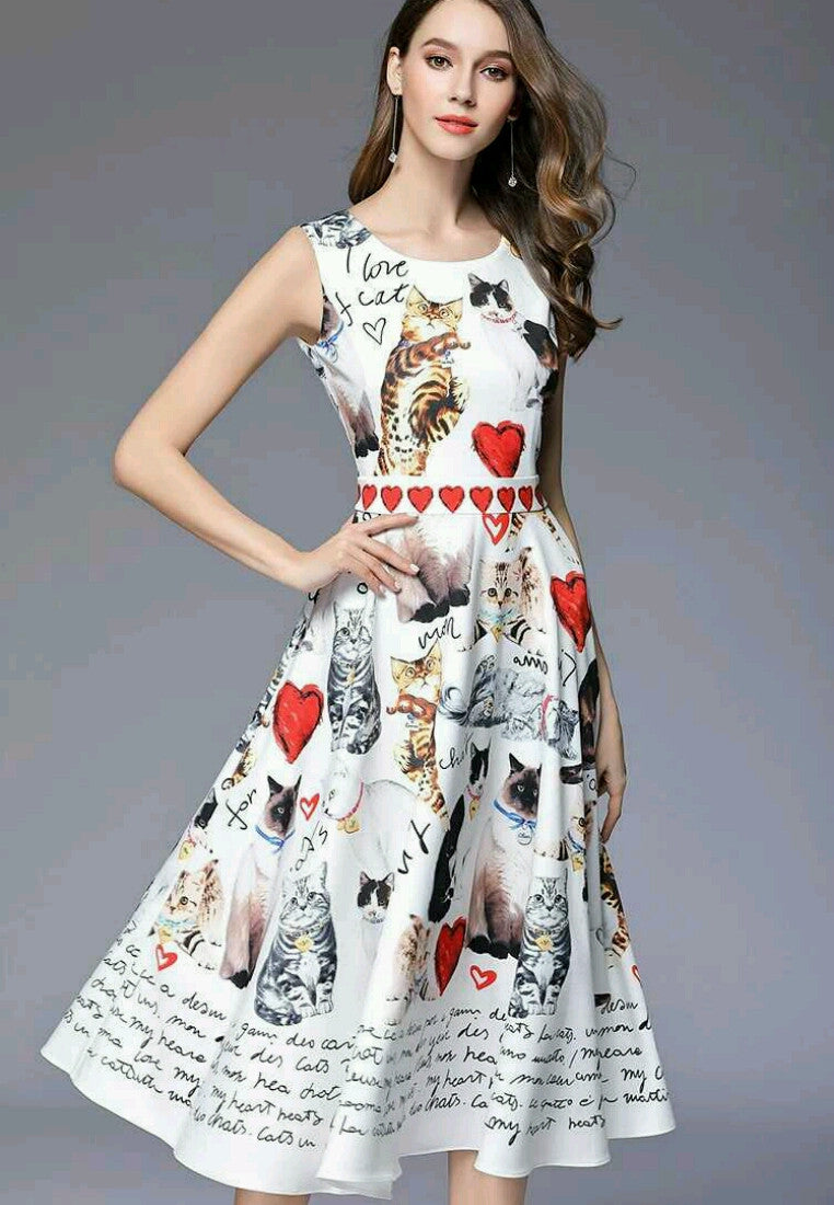 NBRANDFASHION.COM Cat Printed Sleeveless Dress - NBRANDFASHION.COM