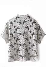 NBRAND Lace Stand Collar Short Sleeve Top - NBRANDFASHION.COM
