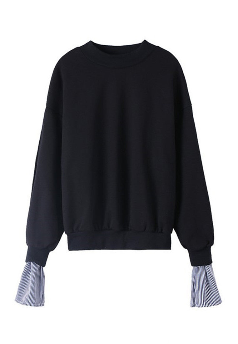 NBRAND High-Necked Striped Stitching Long-Sleeve Sweater - NBRANDFASHION.COM