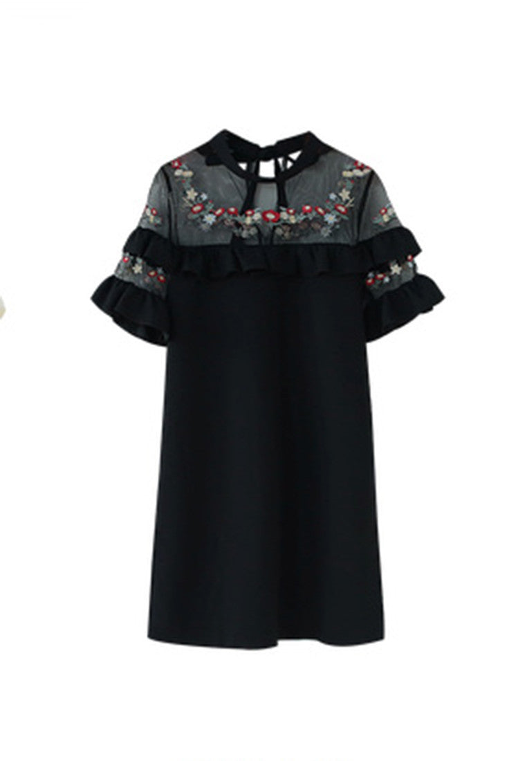 NBRAND Mesh Lace Lotus Leaf Embroidery Dress - NBRANDFASHION.COM