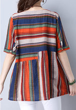 NBRAND Loose National-Style Color Striped Short Top - NBRANDFASHION.COM