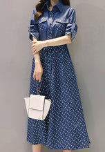 NBRAND Bowknot Printed Shirt Denim Dress - NBRANDFASHION.COM