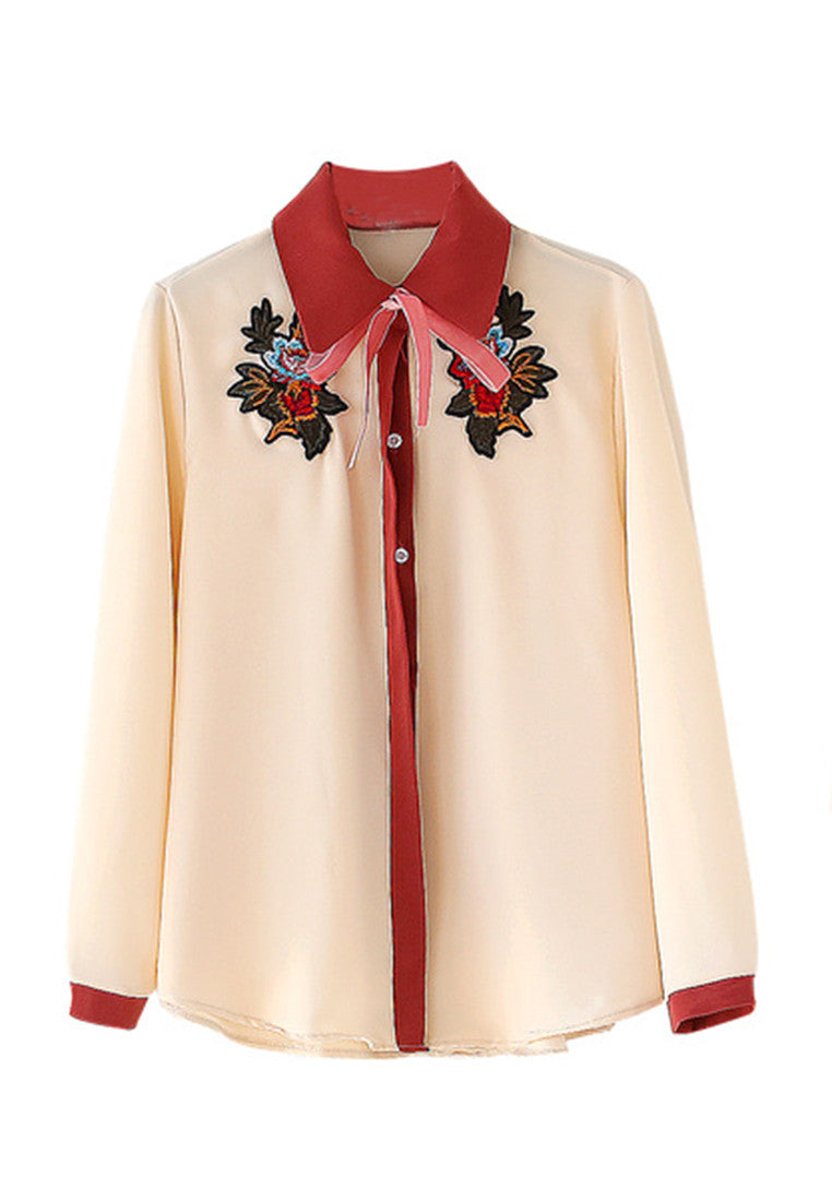 NBRAND Bow Embroidery Patch Shirt - NBRANDFASHION.COM