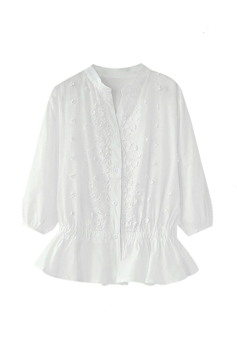 NBRAND Dimensional Flower Embroidery 3/4 Length Sleeved Shirt - NBRANDFASHION.COM