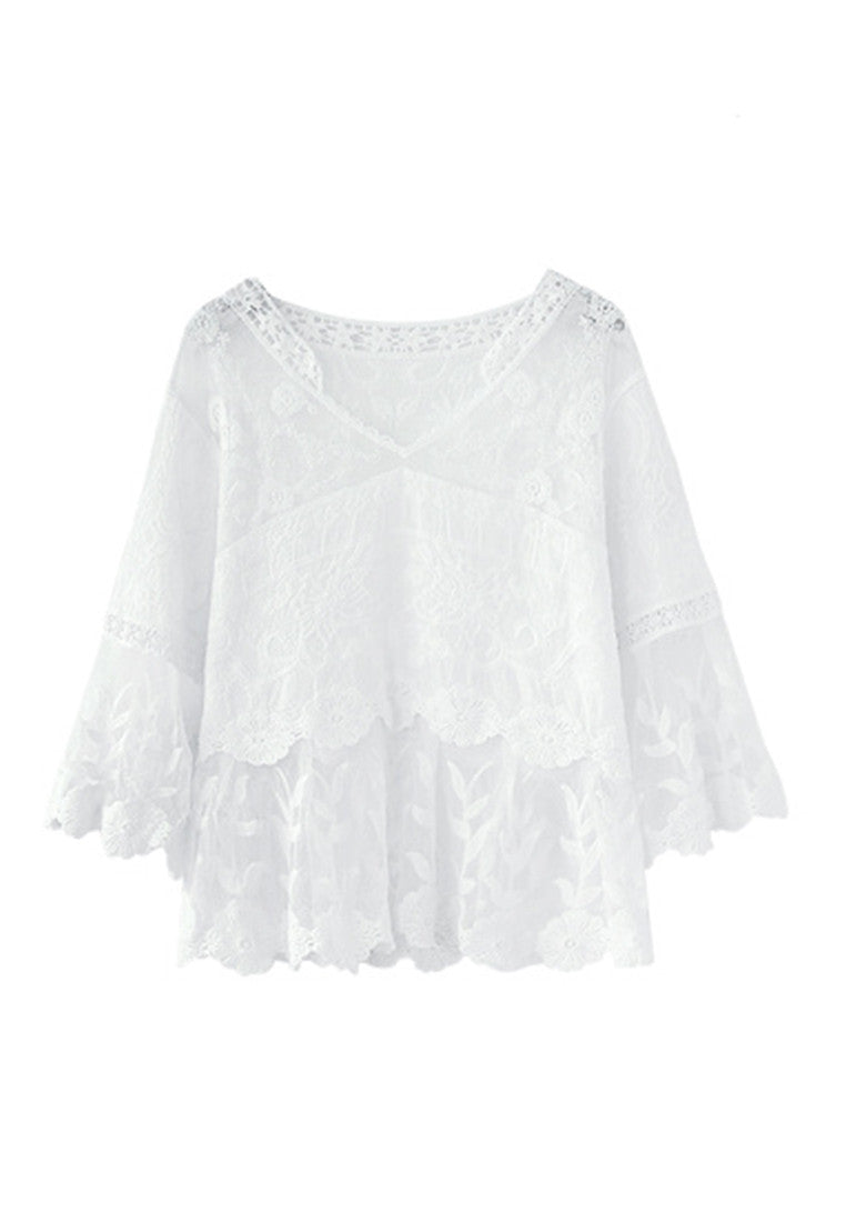 V Collar Hook Flower Embroidery 3/4 Length Sleeve Blouse Shirt