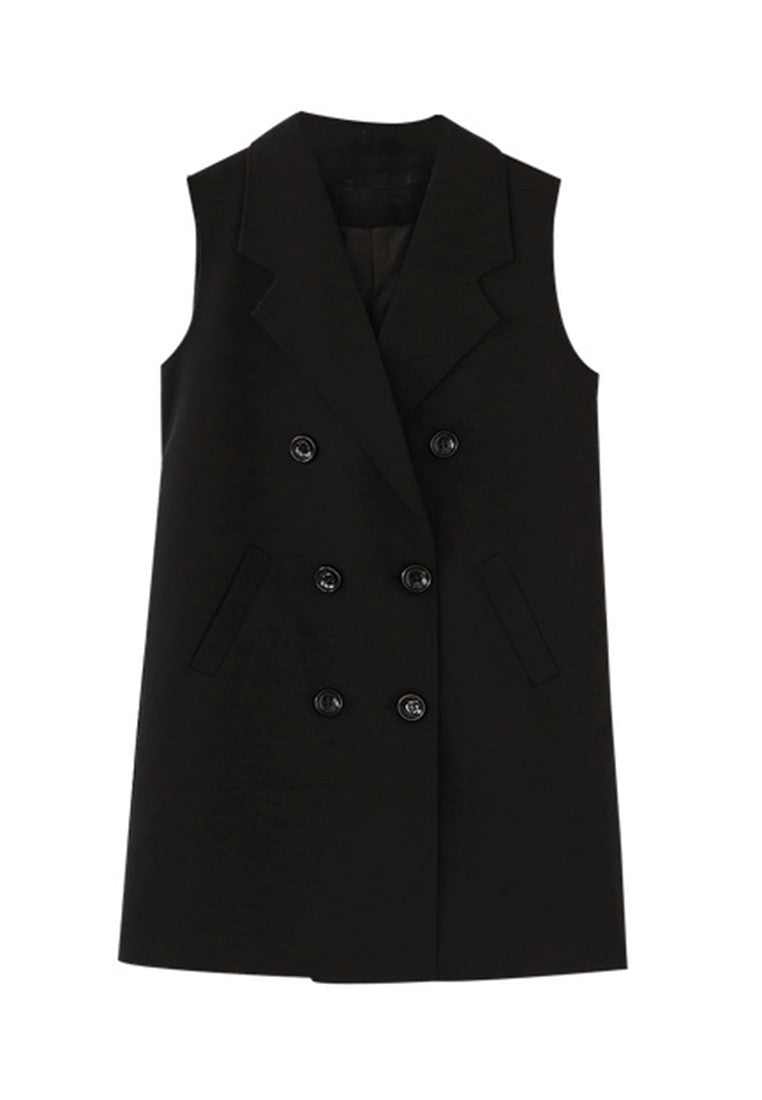 NBRAND Medium-Length Suit Collar Double-Breasted Vest Jacket - NBRANDFASHION.COM