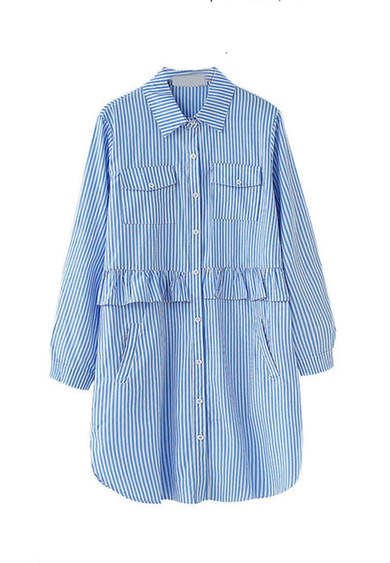 NBRAND Lapel Fungus Fringed Striped Shirt Dress - NBRANDFASHION.COM