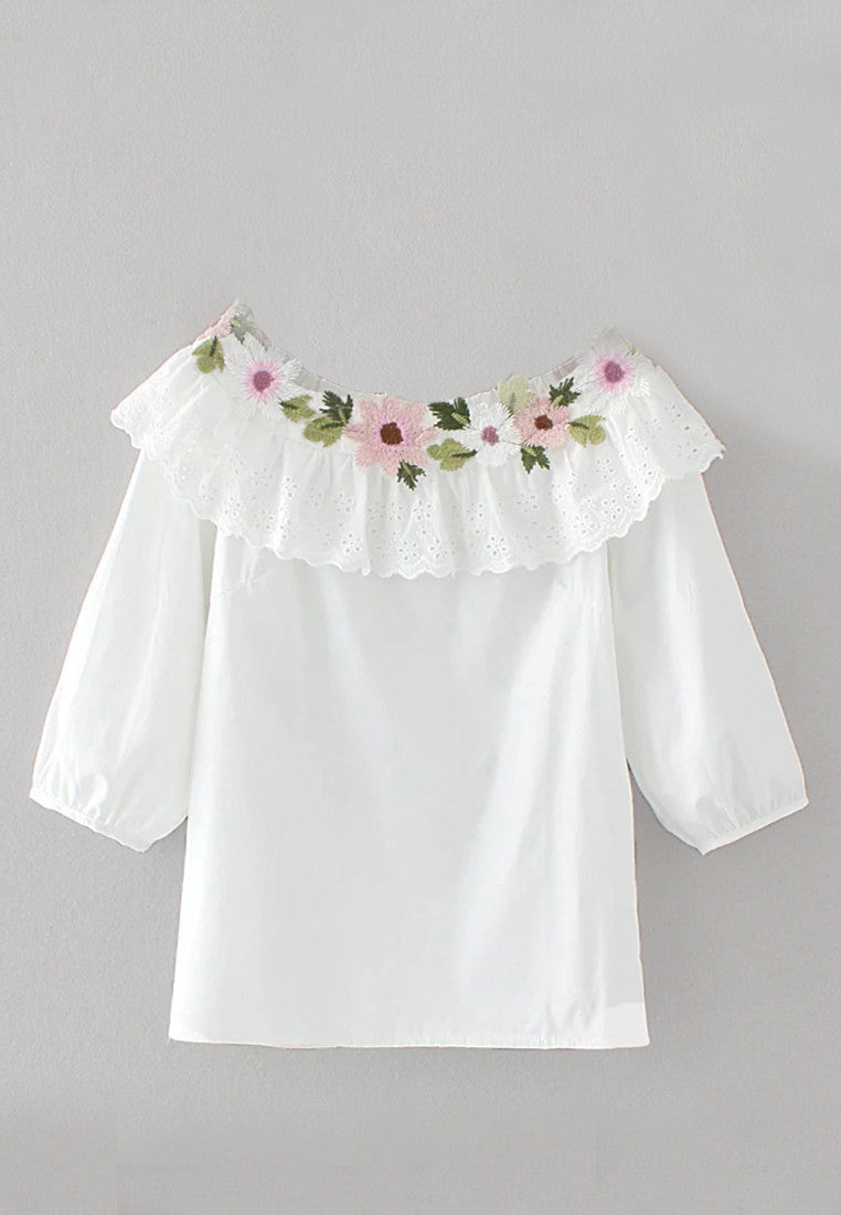 NBRAND Off-Shoulder Embroidery 3/4 Length Sleeve Shirt - NBRANDFASHION.COM