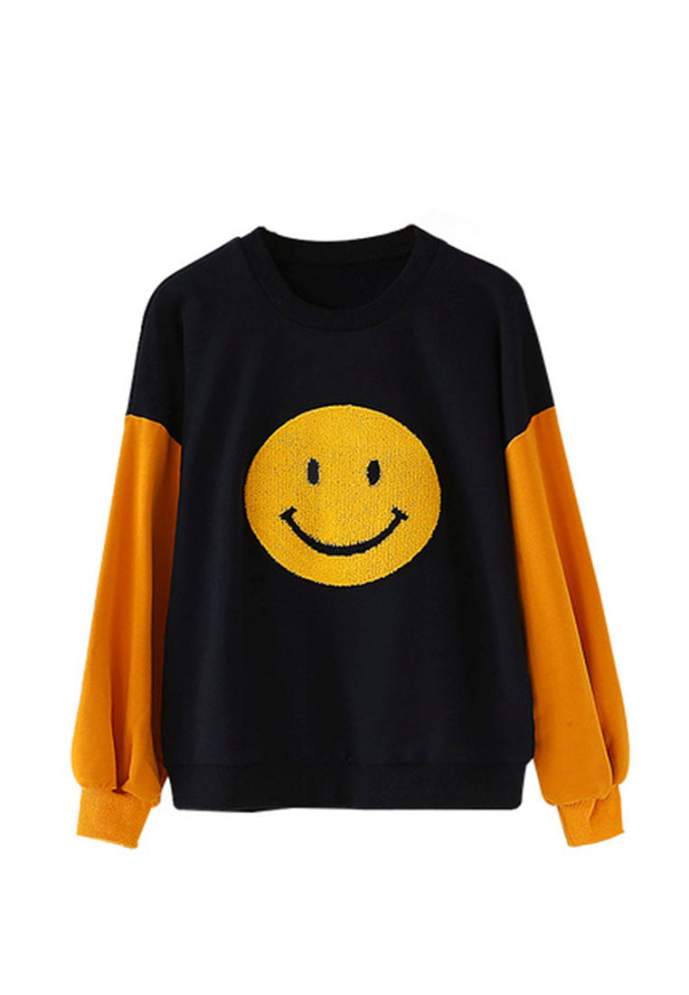 Round Neck Contrast Color Long-Sleeved Smile Sweater