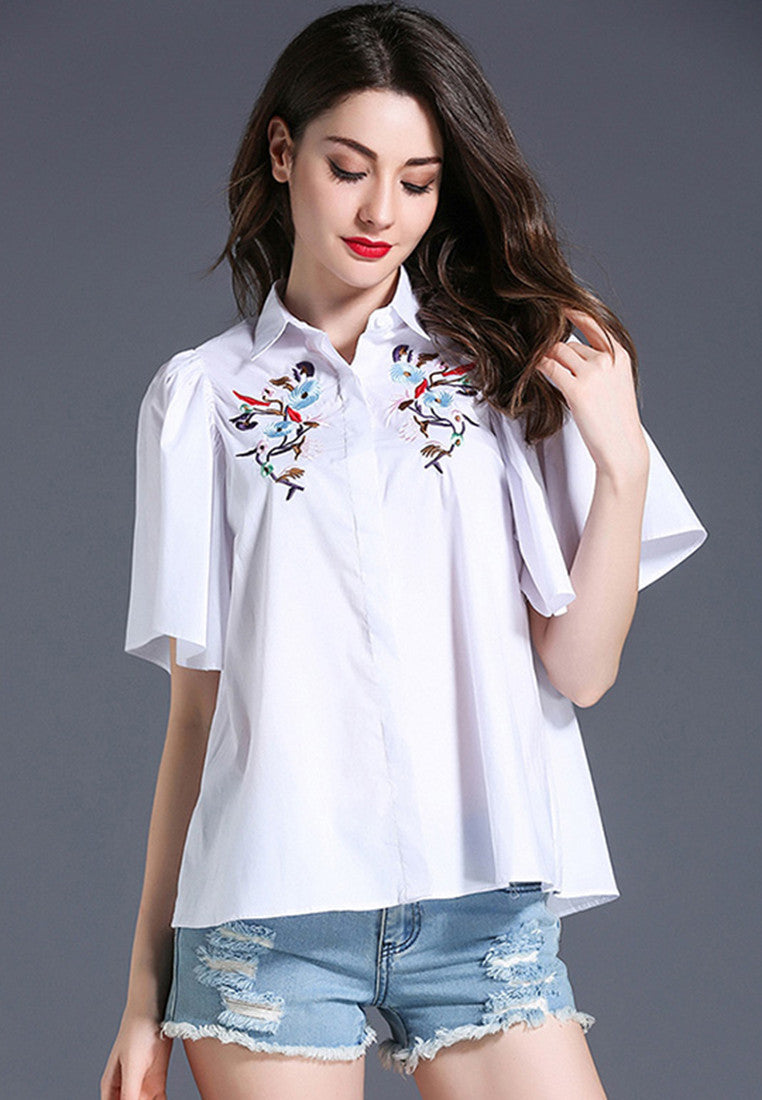 NBRAND Flower Embroidery Lapel Short Sleeve Shirt - NBRANDFASHION.COM