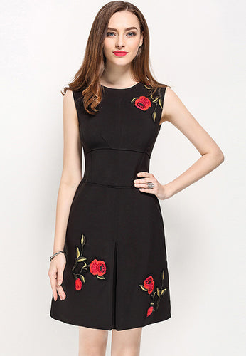 Sleeveless Embroidery A-Line Dress
