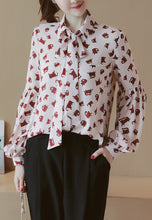 NBRAND Lapel Bandage Lantern Sleeve Cat Printing Shirt - NBRANDFASHION.COM