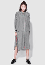 NBRAND Lapel Long-Sleeve Striped Shirt Dress - NBRANDFASHION.COM