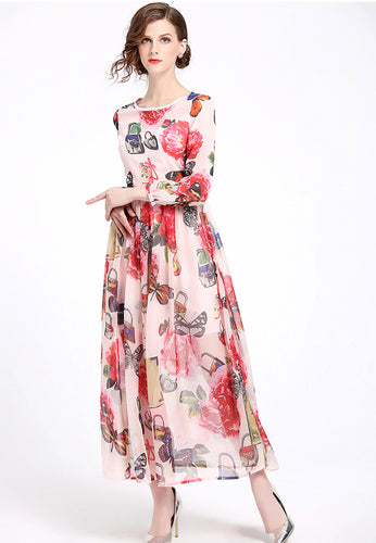 NBRAND Butterfly Print Long Sleeve Waisted Dress - NBRANDFASHION.COM