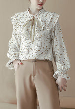 NBRAND Lace Tied Lotus Leaf Stitching Shirt - NBRANDFASHION.COM