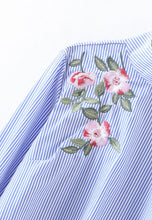 NBRAND Back Button Embroidery Striped Shirt - NBRANDFASHION.COM