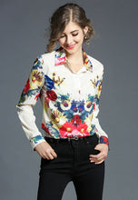 NBRAND Floral Printed Long Sleeve Lapel Shirt - NBRANDFASHION.COM