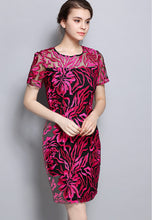 Short Sleeve Embroideery One-Piece Slim Fit Dress