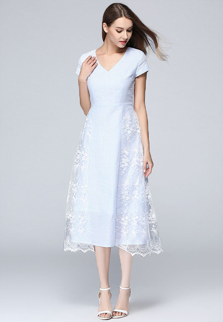 NBRAND Embroidery Stitching V-Collar Dress - NBRANDFASHION.COM