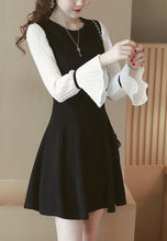 Round Neck Pleated Long-Sleeve Dress