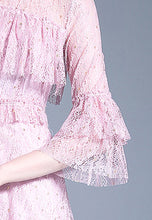 NBRAND Off-Shoulder Mesh Lace Lotus Leaf Sleeve A-line Dress - NBRANDFASHION.COM