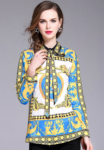Retro Lapel Long Sleeve Shirt Top
