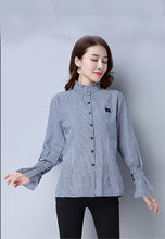 Small Lattice Lotus Leaf Collar Trumpet Sleeve Blouse Shirt