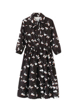 NBRAND Lapel 3/4 Length Sleeve One-Piece Long Floral Dress - NBRANDFASHION.COM