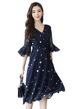 V-Neckline Trumpet Sleeve High-Waisted Print Dress