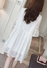 Round Neck Embroidery Elbow Length Sleeve Dress