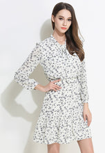 Printed Bowknot Long-Sleeve Lotus Leaf Fringed Dress