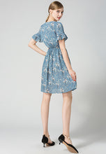 NBRAND Floral Printed Lotus Leaf Sleeve Dress - NBRANDFASHION.COM