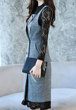 NBRAND Lace Long-Sleeve A-Line Dress With Vest - NBRANDFASHION.COM