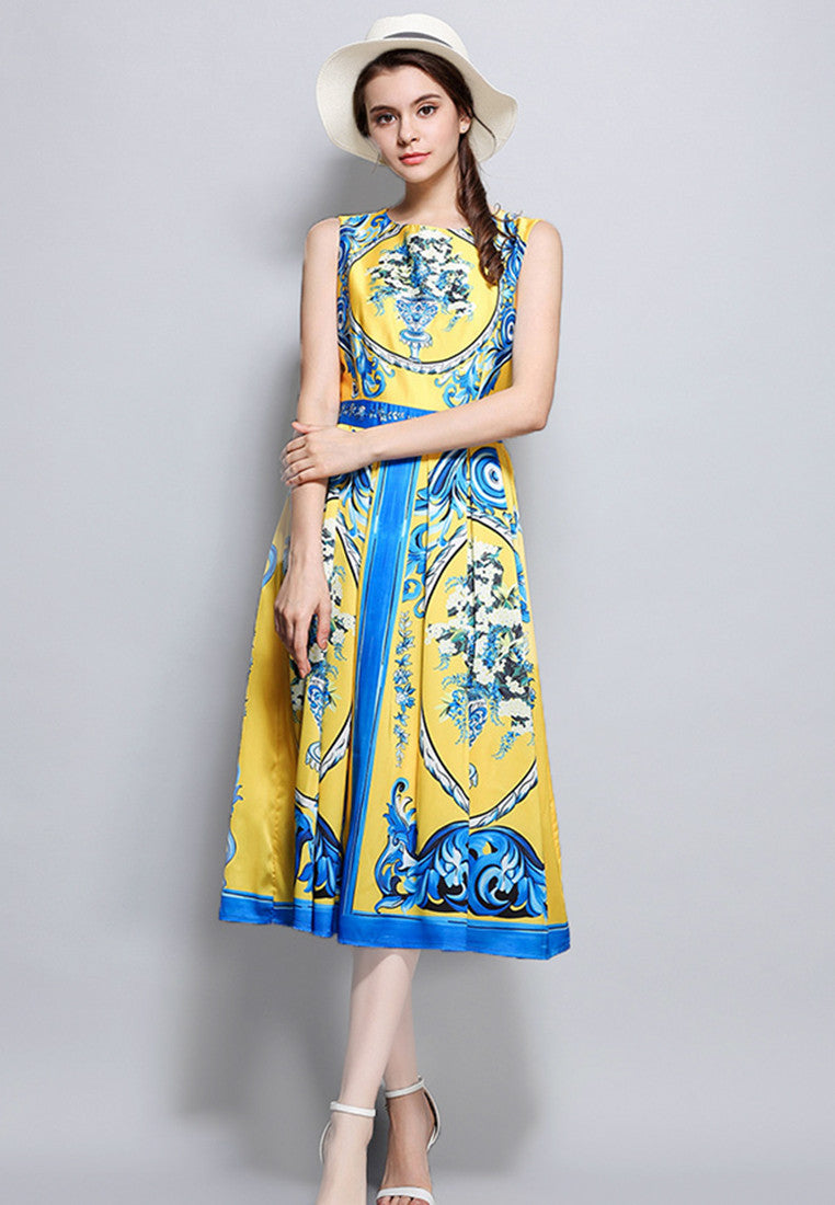 Porcelain Printing Sleeveless One-Piece Dress