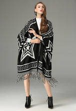 NBRAND Five-Pointed Star Geometric Jacquard Knit Tassel Cloak - NBRANDFASHION.COM