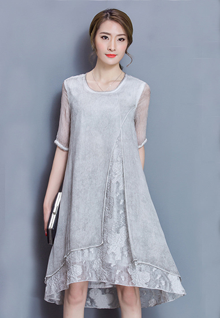 NBRAND Medium Long Embroidery Elbow Length Sleeve A-Word One-Piece Dress - NBRANDFASHION.COM