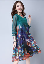 NBRAND Loose Floral Print Long-Sleeve One-Piece Dress - NBRANDFASHION.COM