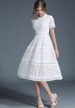 NBRAND Hollow Stitching Lace A-Line Dress - NBRANDFASHION.COM