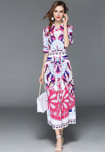 NBRAND Lapel Short Sleeve Print Dress - NBRANDFASHION.COM