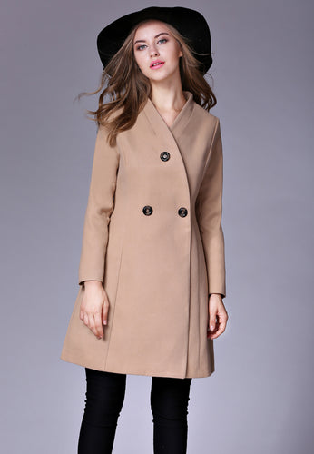 V-Collar Button Coat