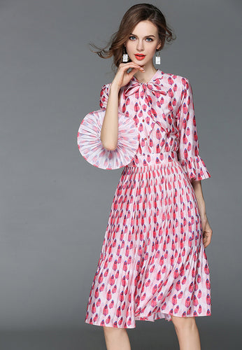 NBRAND Bowknot Trumpet Sleeve Print Pleated Dress - NBRANDFASHION.COM