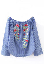 Off-Shoulder Striped Embroidery Top